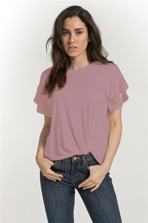 Ruffle Sleeve Side Knot Top