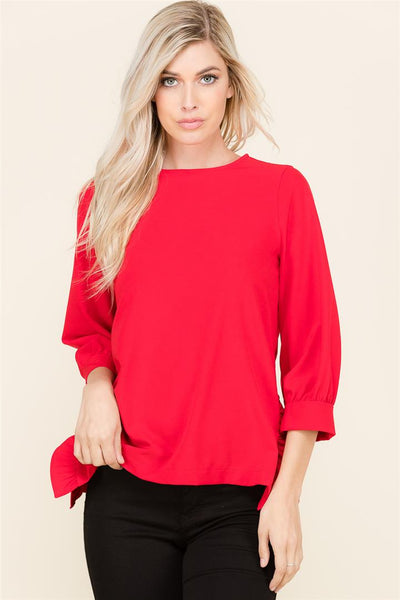Side Slit with Ruffle Blouse - shopcoa