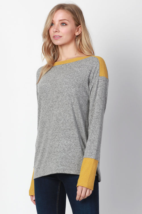 CONTRAST RIB PULL OVER