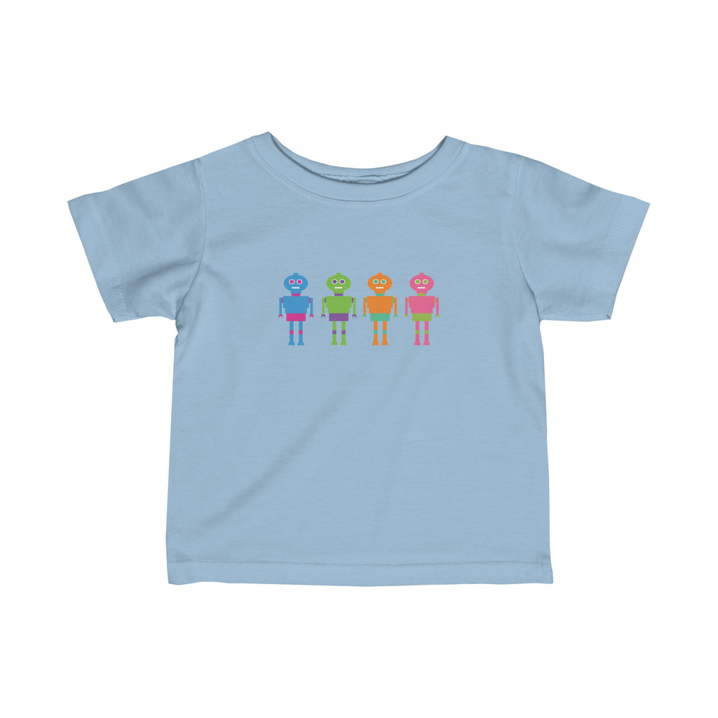 Infant Fine Jersey Tee: Colorful Robots
