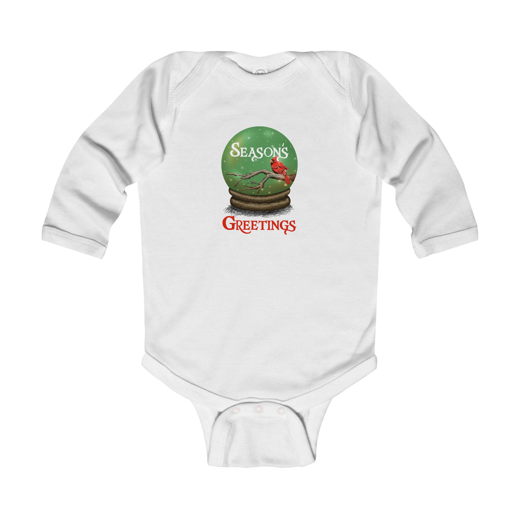 Infant Long Sleeve Onesie: Seasons Greetings Cardinal