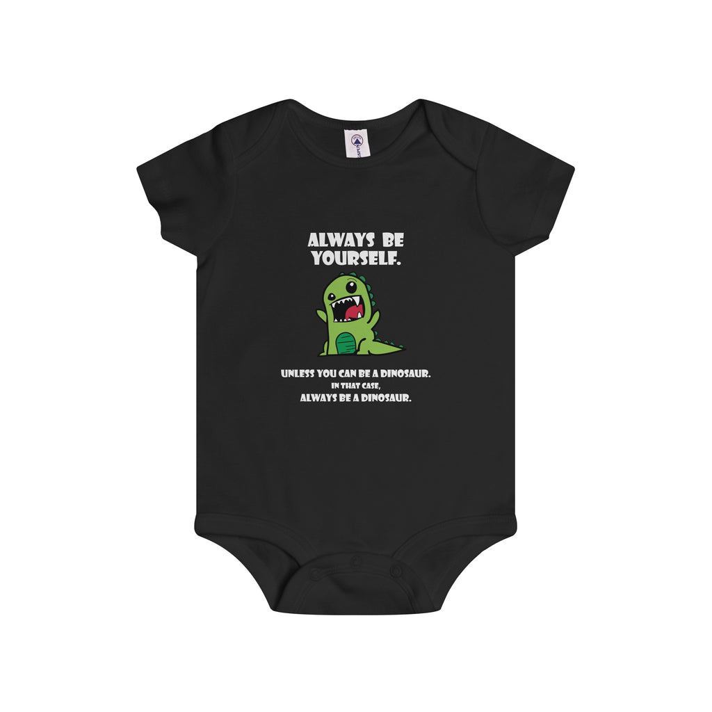 Infant Rip Snap Onesie: Green Dino Dark Colors