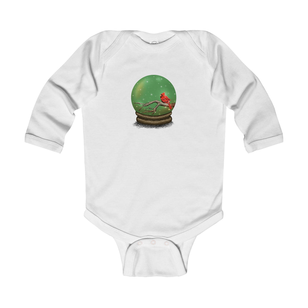 Infant Long Sleeve Onesie: Holiday Cardinal