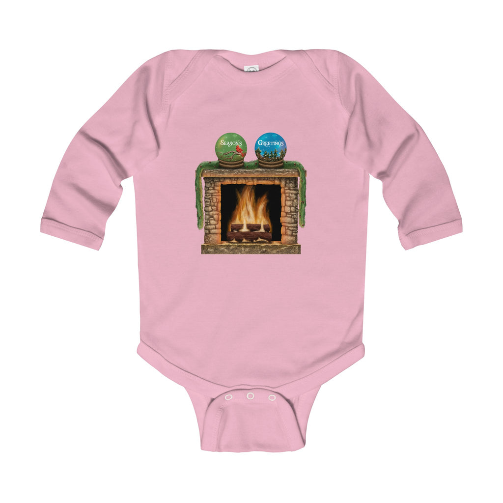 Infant Long Sleeve Bodysuit: Holiday Fireplace