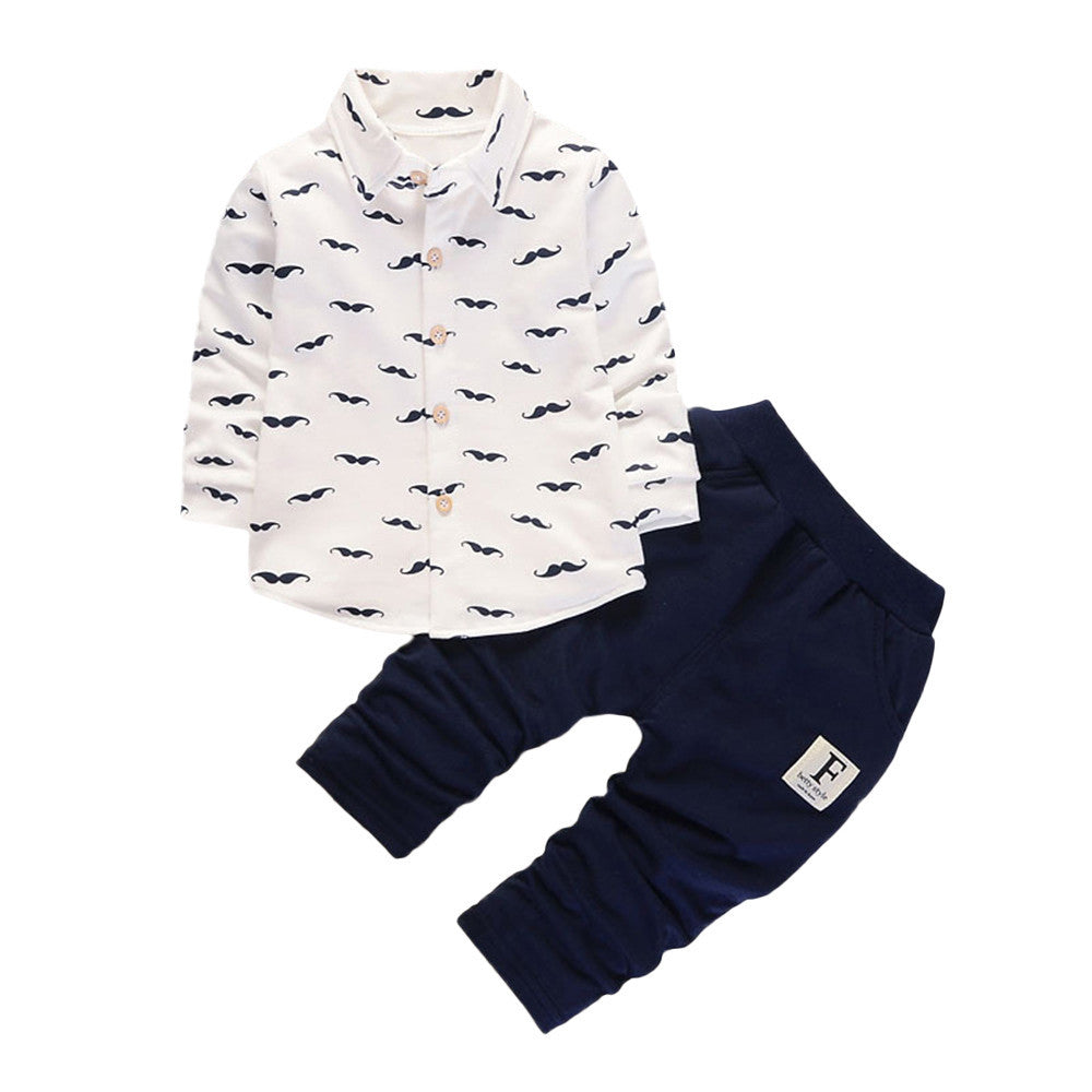2pcs baby boys set Beard printed gentle style Toddler Infant Baby Boys Clothes Set Tops Pants Outfits drop shp