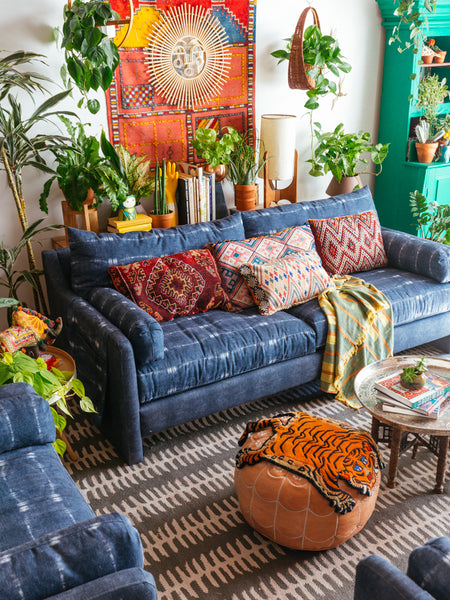 Boho-chic decorated living room