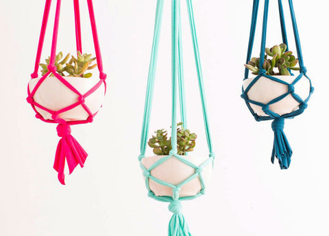 Macrame succulent pot holders