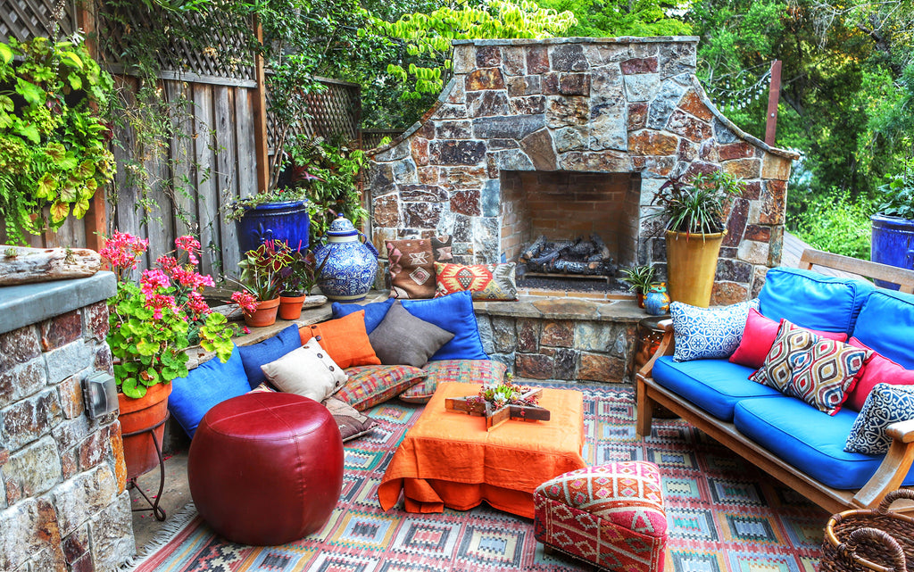 Outdoor Boho Fireplace Patio Decor