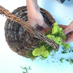 Attaching Decorative moss to basket