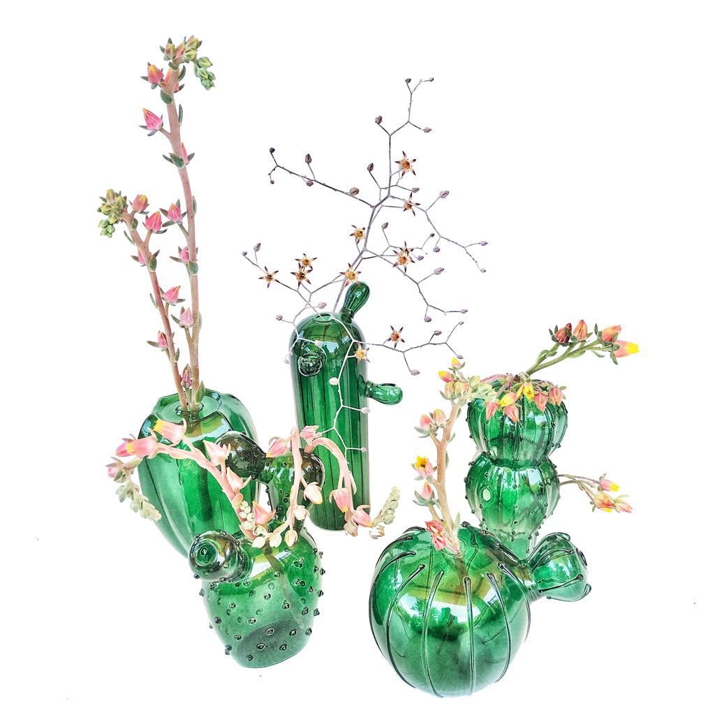 225 & Quirky Cactus Glass Vases