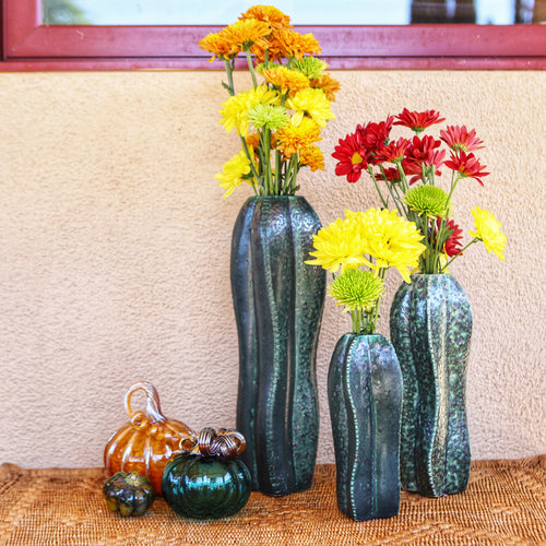 Cactus Vase Group with Flowers Close Up