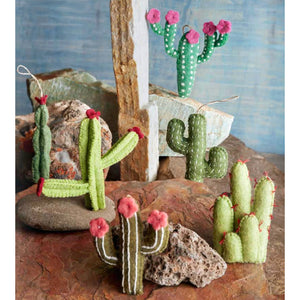 Felted Cactus Ornament Grouping on backdrop