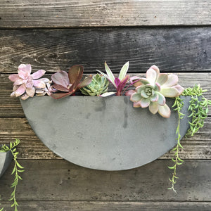 Zinc Half-Circle Wall Planter - Extra Large