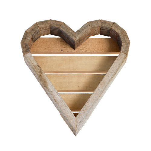 Medium Wood Heart Frame - white background