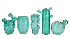 Quirky Cactus Vase Group - Teal Glass