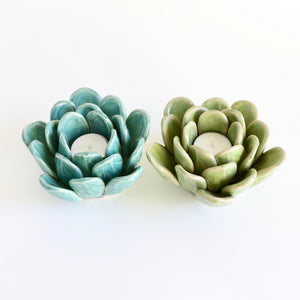 Pair of Ceramic Succulent Tea Light Holders