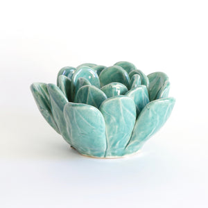 Blue Succulent Tea Light Holder - side view