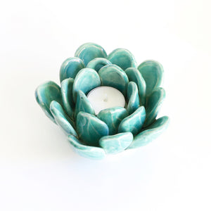 Blue Succulent Tea Light Holder - top view