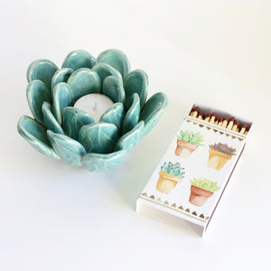 Blue Succulent Tea Light Holder - with matchbox