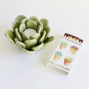 Green Succulent Tea Light Holder - with matchbox