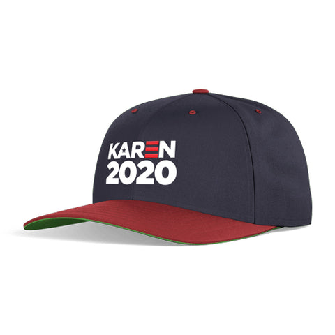Karen 2020 - Classic Embroidered Flat Bill Snapback Cap - Navy and Red (PRE ORDER)