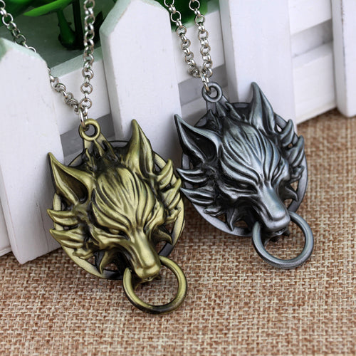 Trendy male alloy gold color lion necklace in pendant necklace for 2017 new anime game final fantasy viii 8 griever squall leonhart lion head necklace vii 7 mozeypictures Gallery
