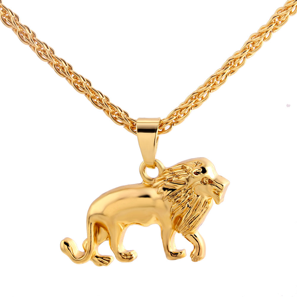 Trendy male alloy gold color lion necklace in pendant necklace for trendy male alloy gold color lion necklace in pendant necklace for men boys fashion animal charm necklace jewelry aloadofball Choice Image