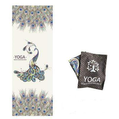 PEACOCK FEATHER YOGA MAT TOWEL - Badass Yoga Gear