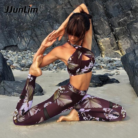 SEXY FLORAL 2-PC SPORT SUIT - Badass Yoga Gear