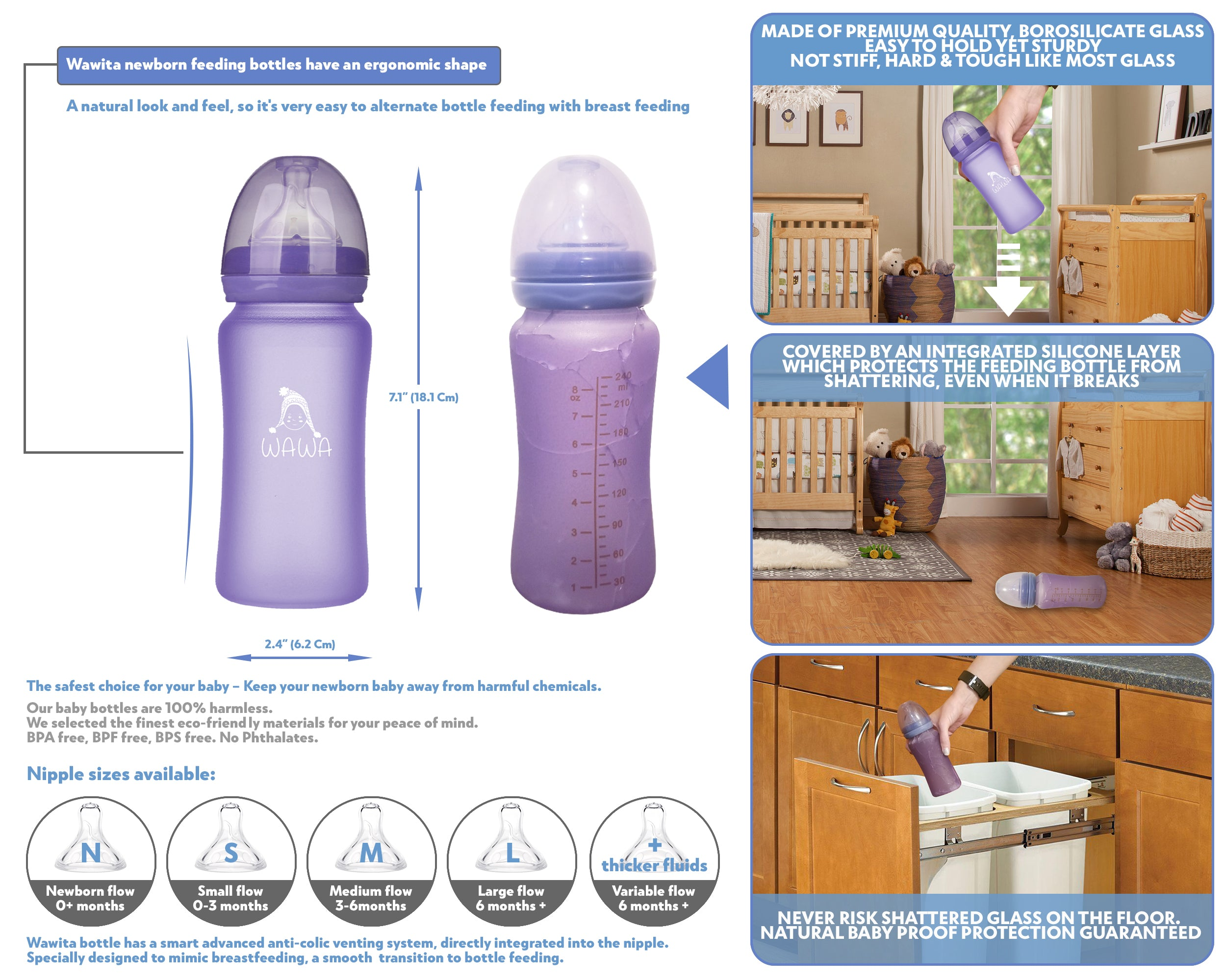 Infographic glass baby bottle shatter protection