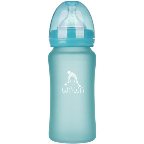Glass Feeding Bottle - Turquoise Color