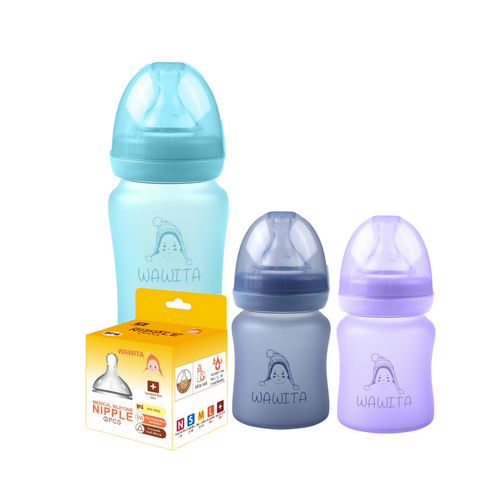 new mommy bundle glass feeding bottles