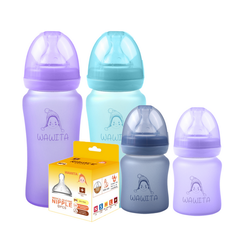 Glass Baby Bottle SHATTER RESISTANT - BPA, BPS, BPF, Phthalates FREE - Essential bundle (SAVE 20%)