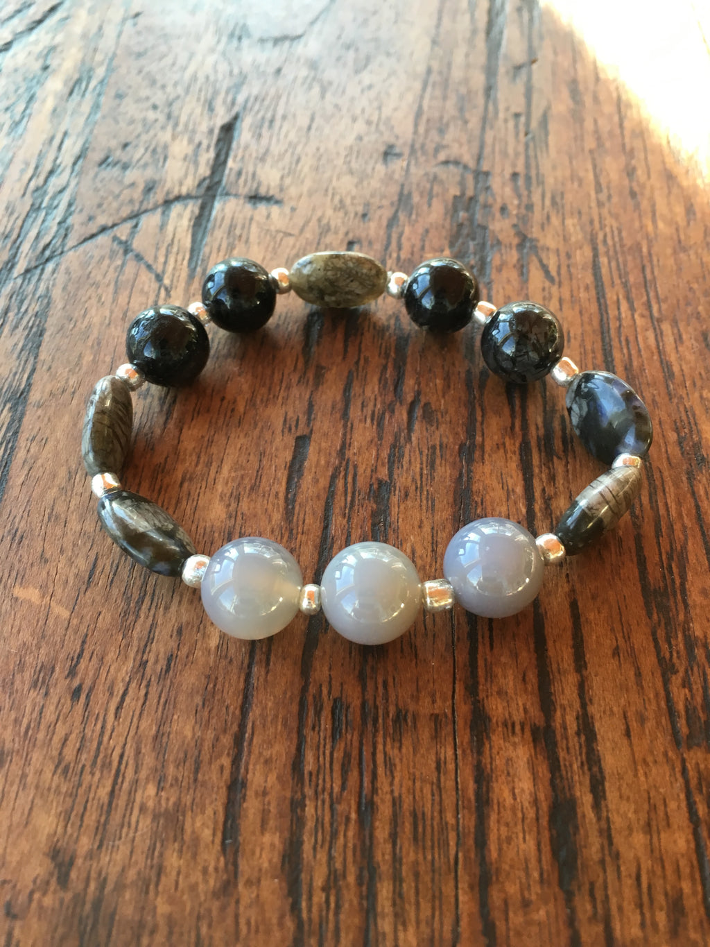 Quartz, Agate and Flash Stone Gemstone Bracelet