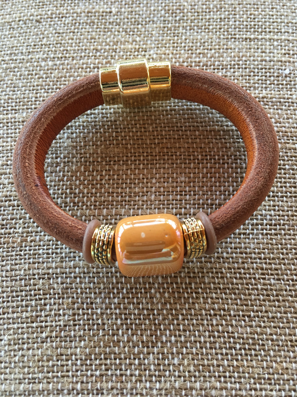 Coffee Colored Leather Bracelet