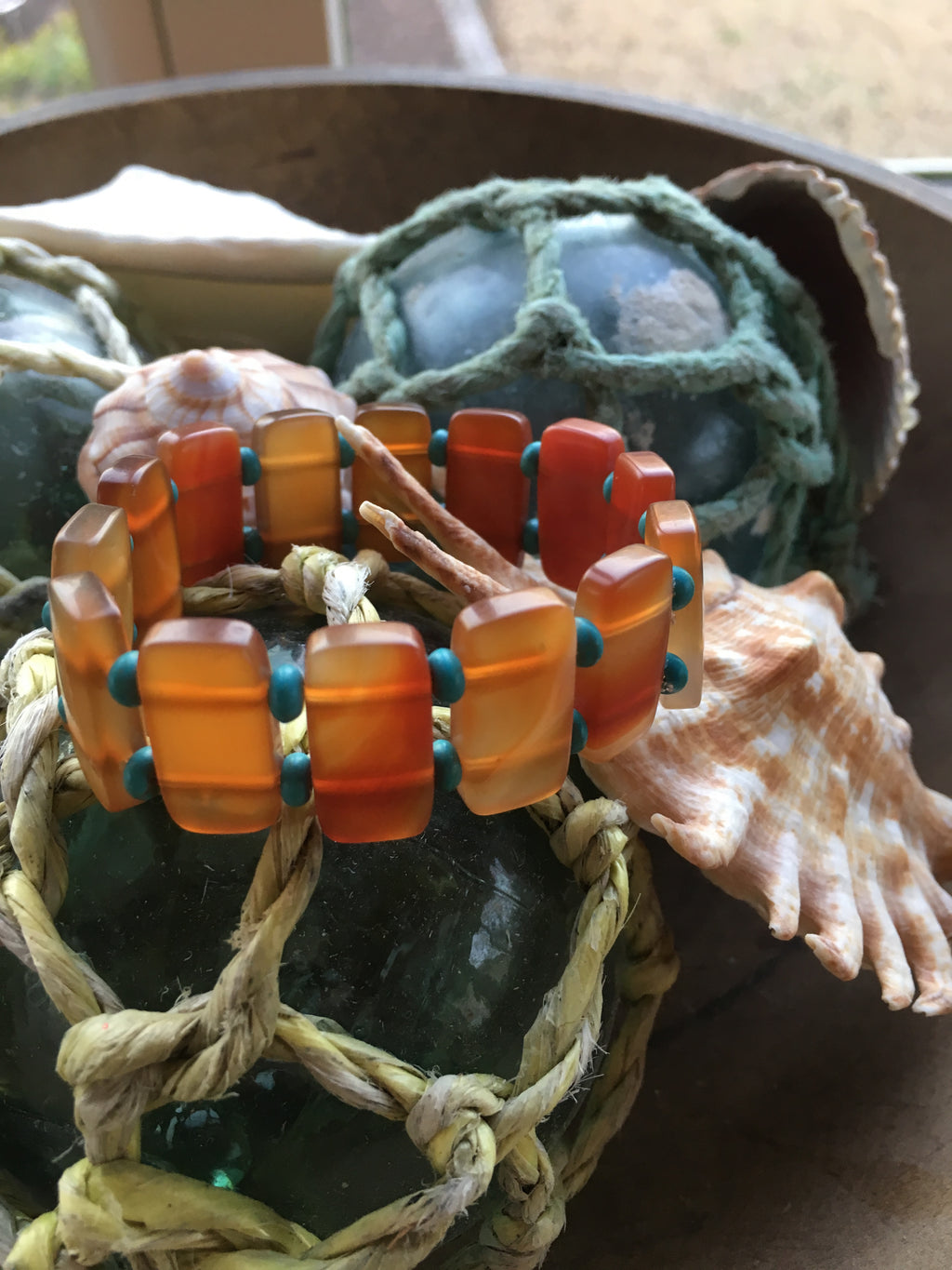 Carnelian and Turquoise gemstone cuff