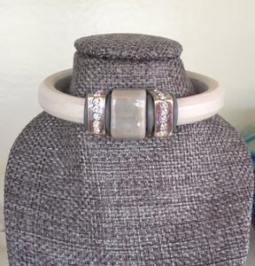White Leather Bracelet With a Little Bling