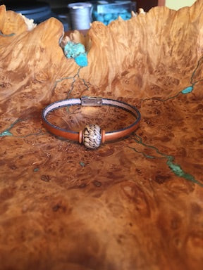Copper Leather with Glass Accent Bead