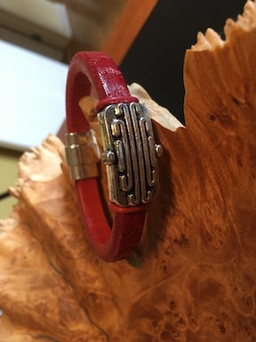 Red Leather Cuff Bracelet With Art Deco Focal Bead