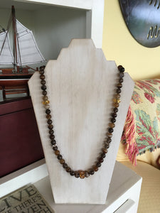 Agate & Smoky Quartz Gemstone Necklace