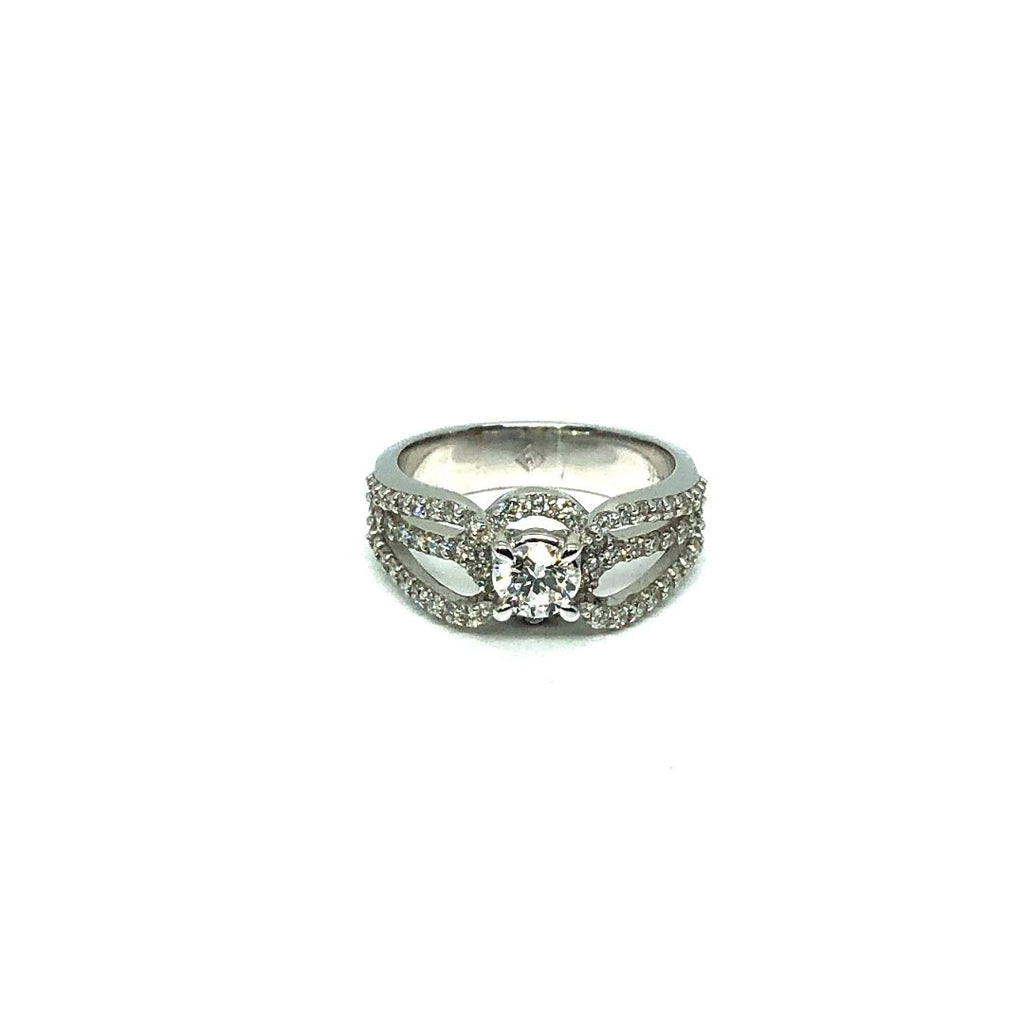 * Lily * Bague de fiancailles en or blanc 14K avec diamants SI 1.18CT - OR QUEBEC