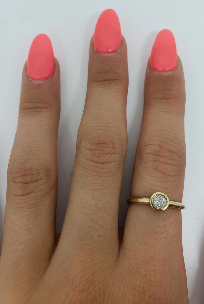 Bague Fashion Ronde 0.13ct de diamants en or jaune 14k