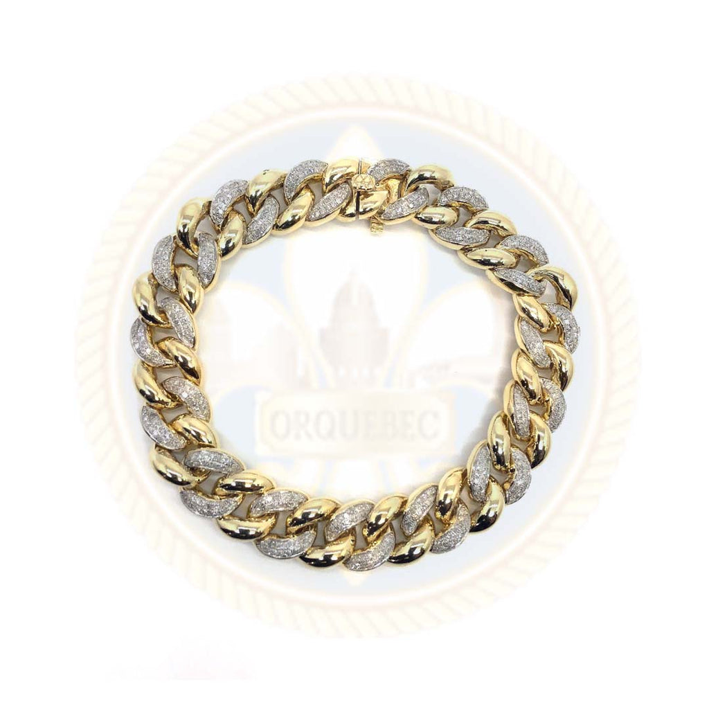 10K Or Jaune 2.26CT Diamant Bracelet Cuban Link DBG-005 - OR QUEBEC