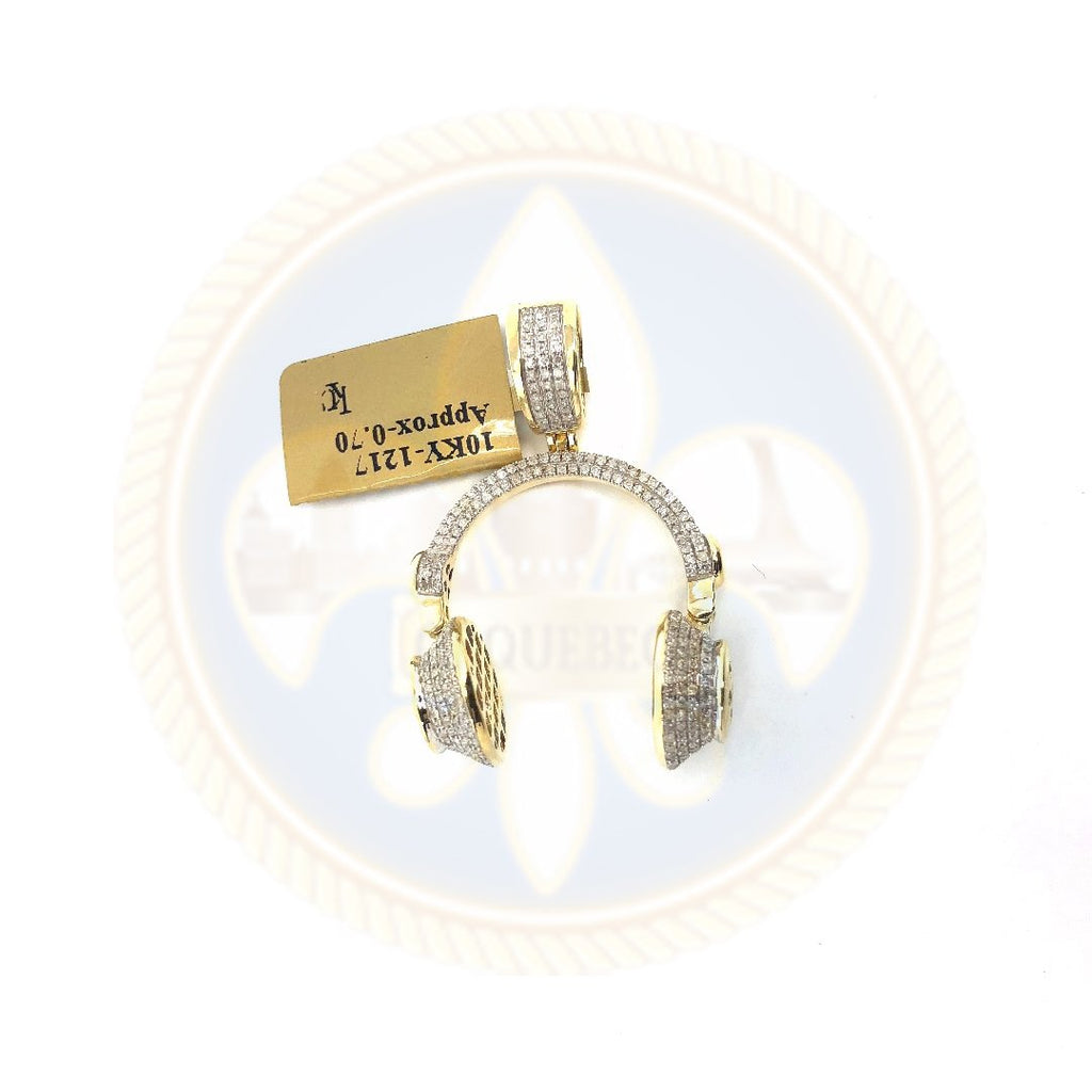 10K or jaune 24MM Head Diamant Pendentif PG-006