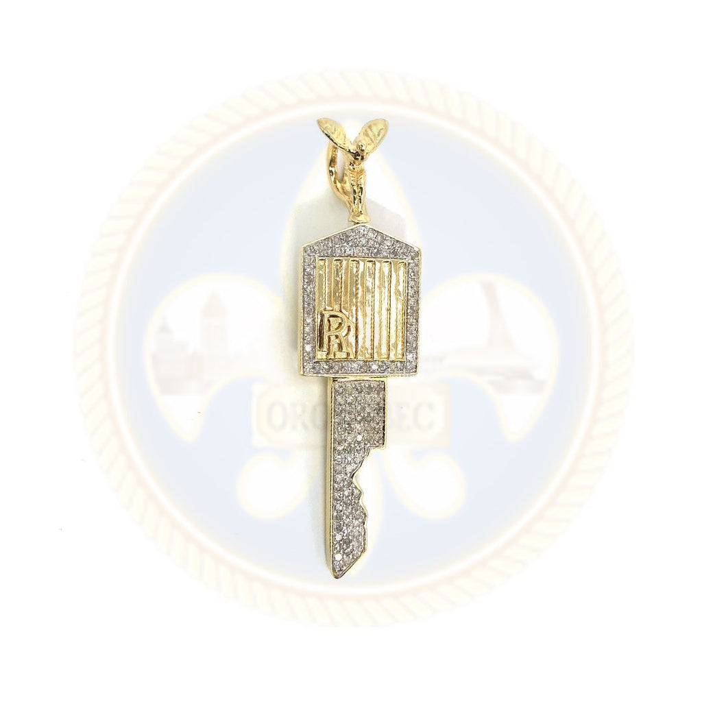 Pendentif en or jaune 10K 55KM Roll Royce Key Diamond DPG-013