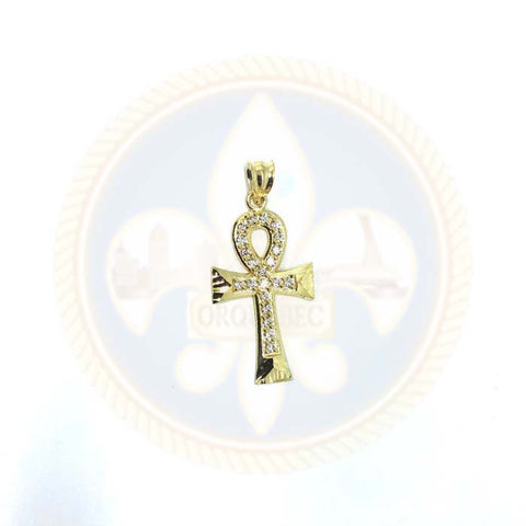 10K Or Jaune Croix Ankh Pendentif Zircons & Diamond Cut XS GAP-009 - OR QUEBEC