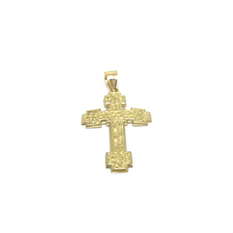 10K Croix Pendentif en or jaune diamant cut  GPA-034 - OR QUEBEC