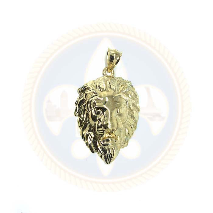 Pendentif Lion Homme en Or 10K Diamond Cut L LGP-012 - OR QUEBEC