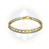 10k 5.5MM 7.5IN 2-Toned Biker Bracelet MBG-038 - OR QUEBEC