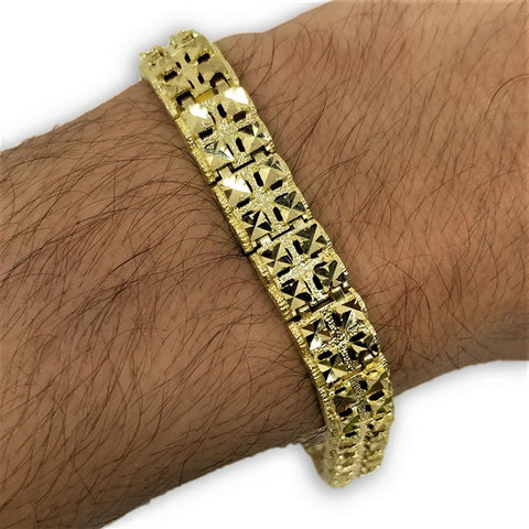 Bracelet spicky en or 10k coupe diamond cut 10mm MBG-086 - OR QUEBEC